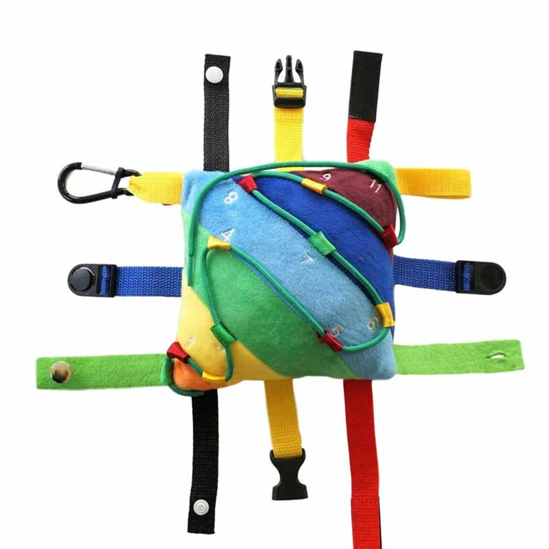 fine motor skills buckles and strings toy