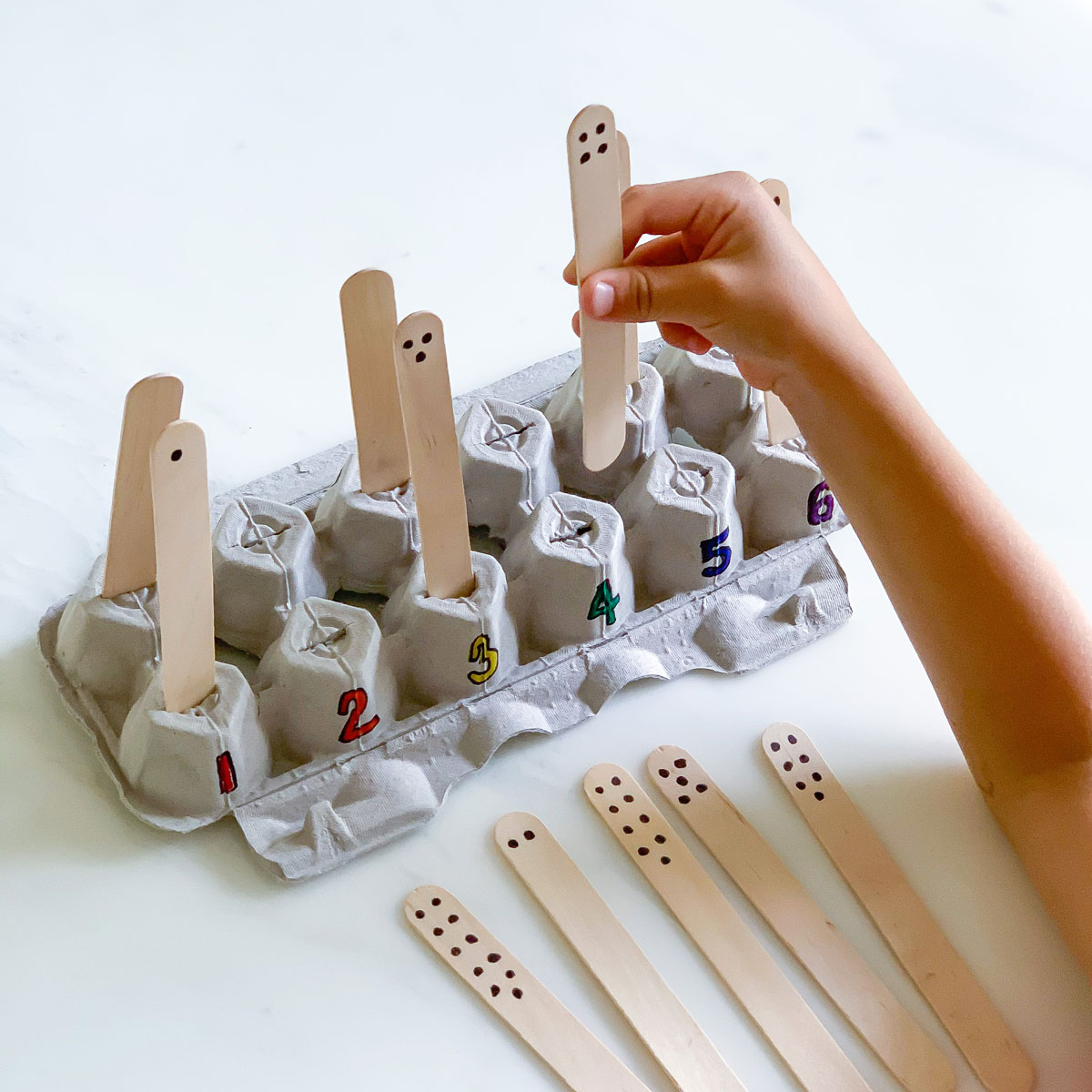 DIY Egg Carton Number Matching Game