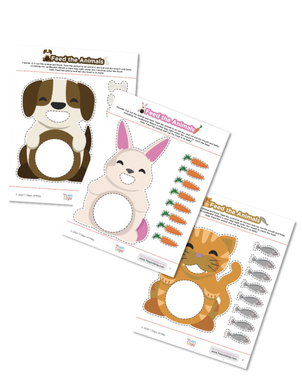 feed the animals printable activity worksheet fine motor skills for toddlers and preschool