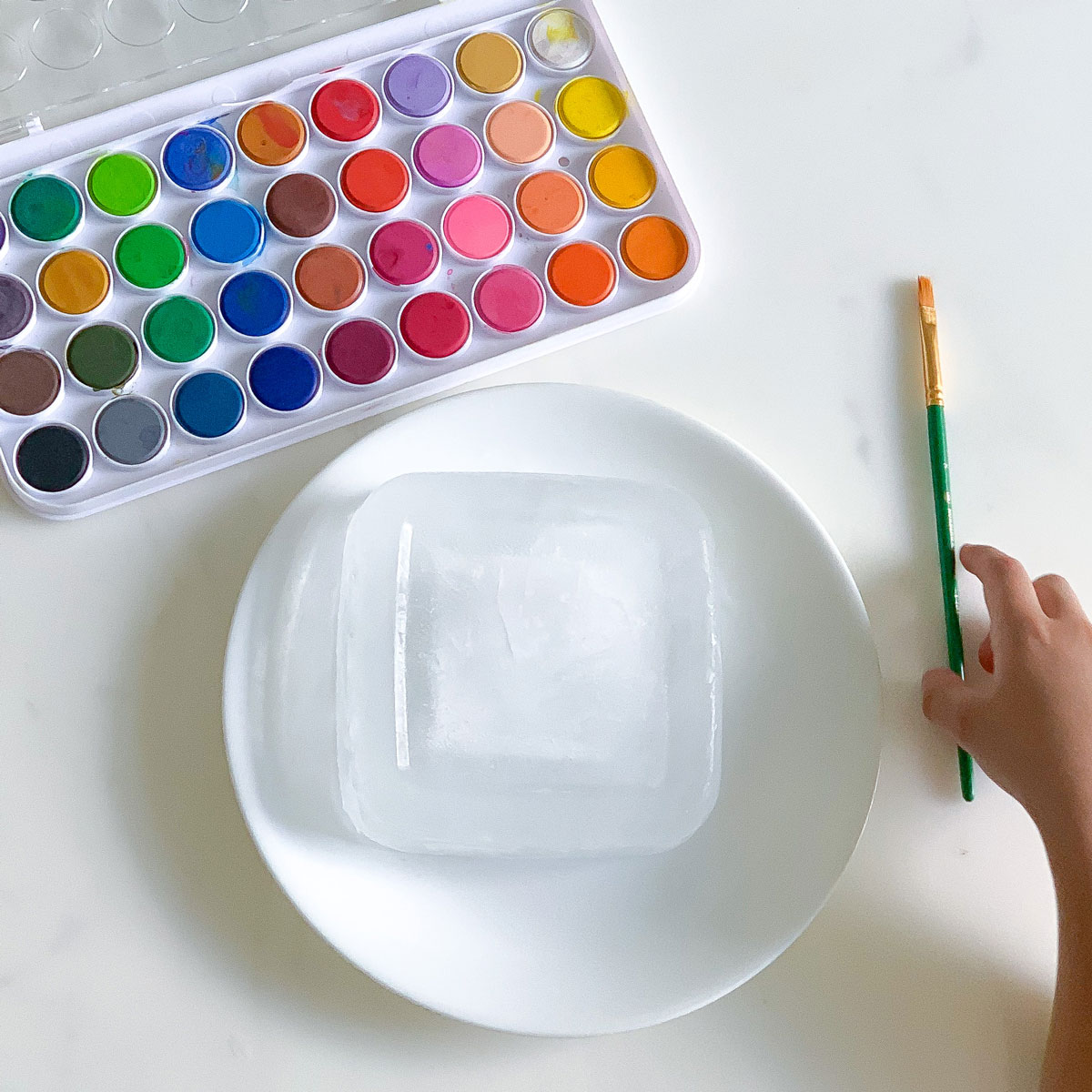 paint on ice painting activity for kids process art