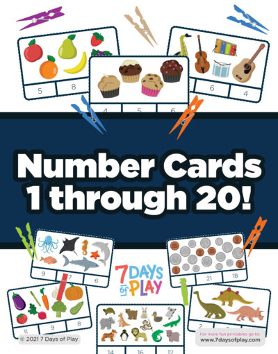 printable number cards 1-20 pegs clothespins early math