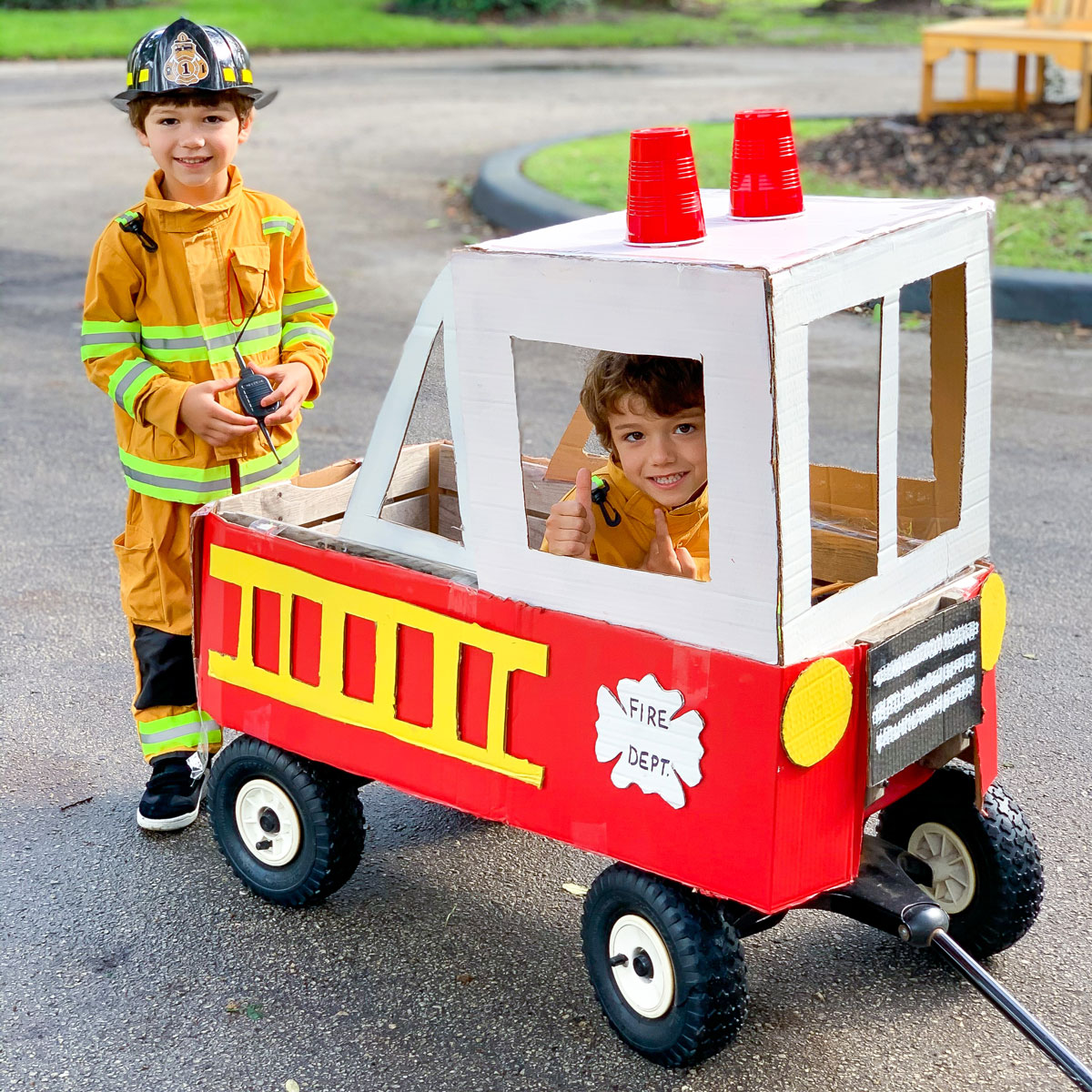 DIY Firefighter Costume – How to Make a Fire Truck