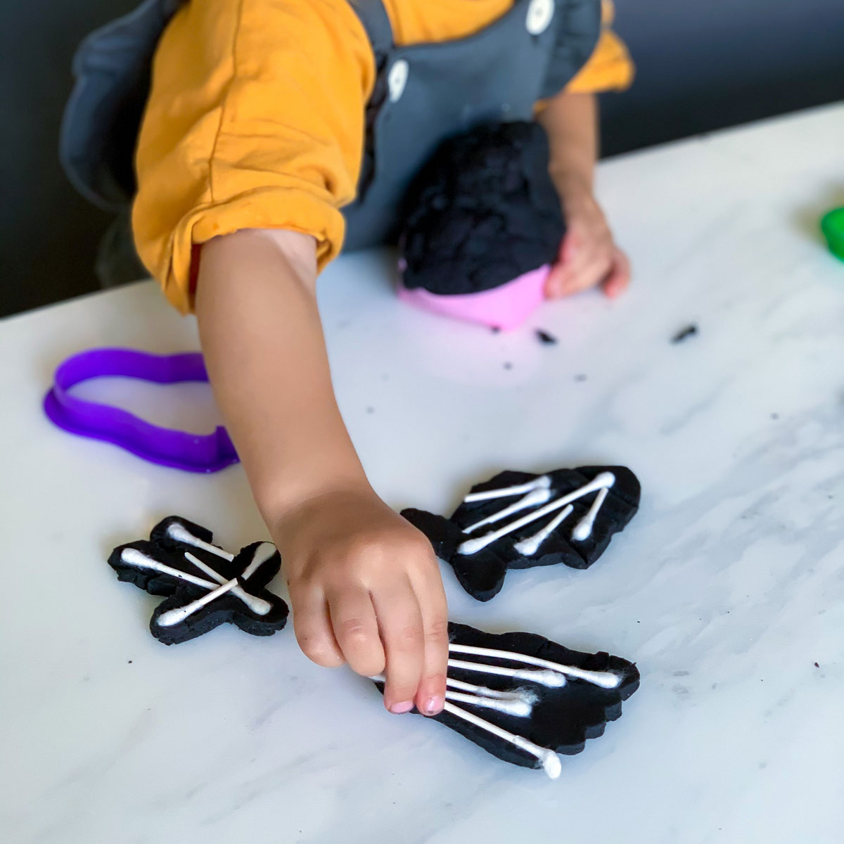 Q-Tip Skeleton Craft with Easy Play Dough Recipe